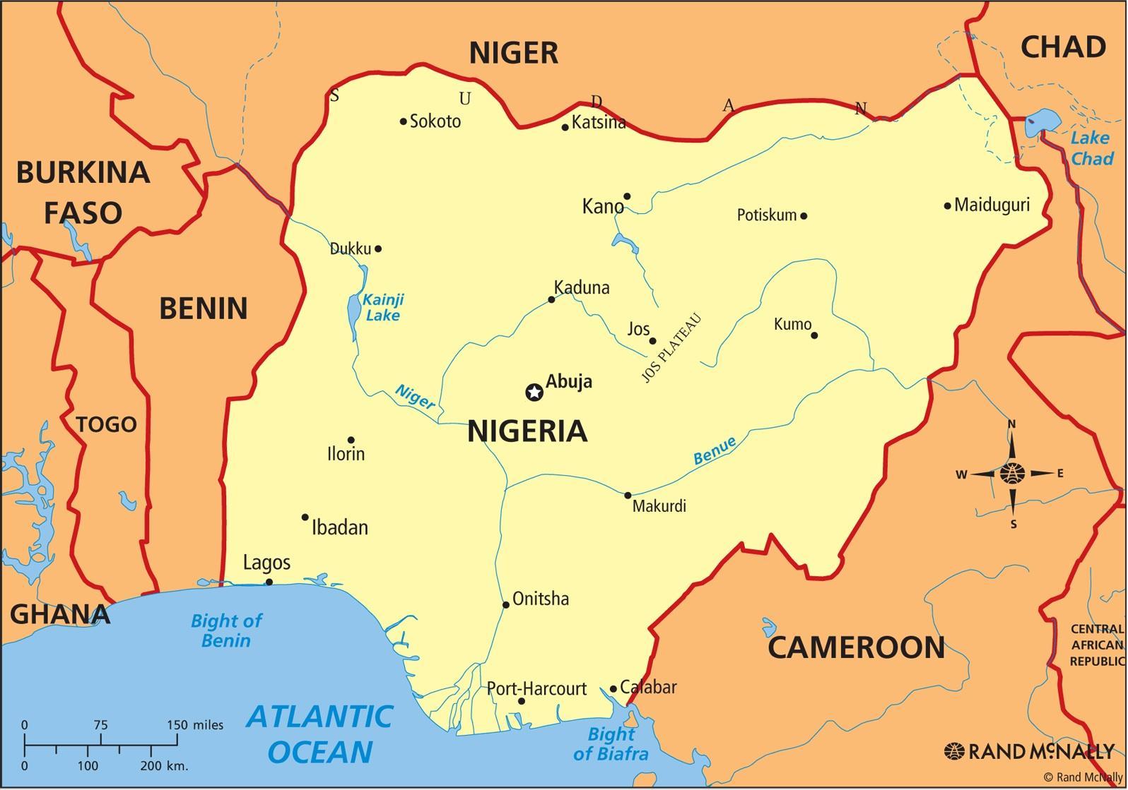 Nigeria Kort Nigeria Kort Det Vestlige Afrika Afrika