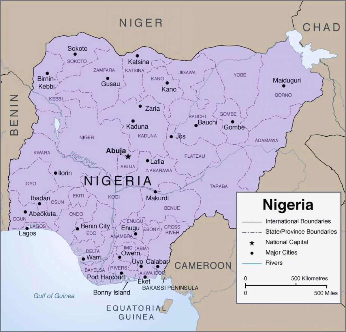 Detaljeret Kort Over Nigeria Kort Med Detaljerede Nigeria