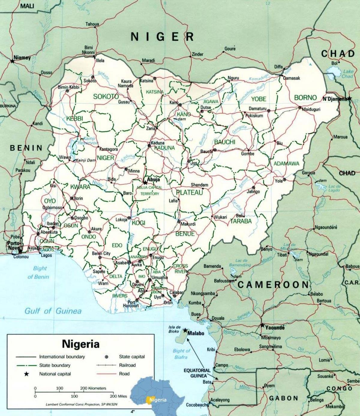 Lagos Nigeria Kort Lagos Nigeria Kort Afrika Det Vestlige